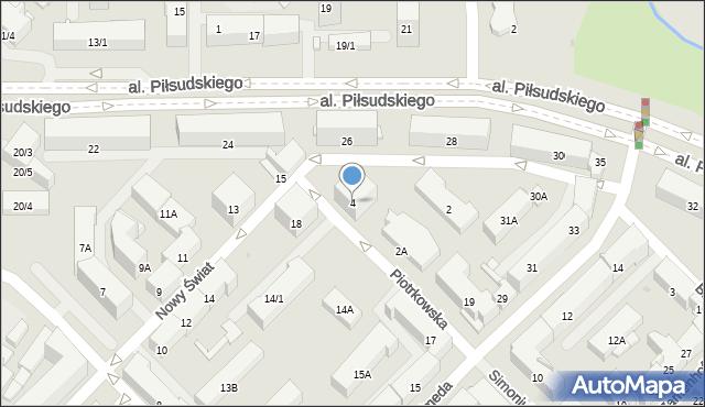 Białystok, Piotrkowska, 4, mapa Białegostoku