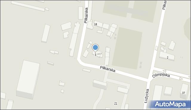 Bytom, Piłkarska, 1, mapa Bytomia