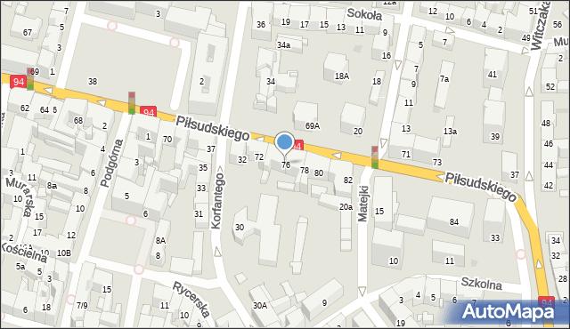 Bytom, Piłsudskiego Józefa, marsz., 76, mapa Bytomia