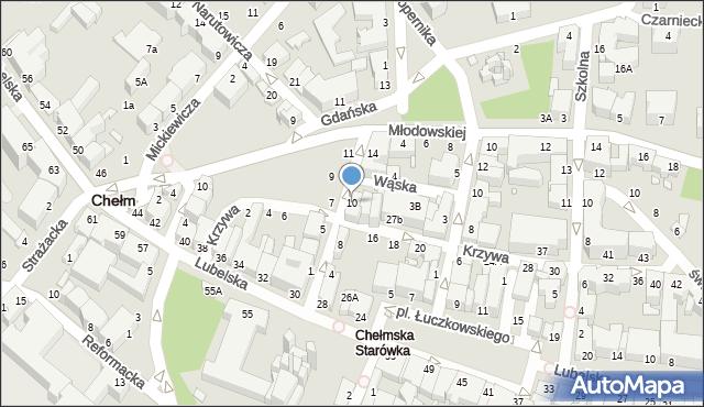 Chełm, Pijarska, 10, mapa Chełma