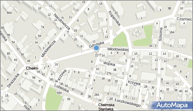 Chełm, Pijarska, 11, mapa Chełma