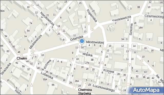 Chełm, Pijarska, 14, mapa Chełma