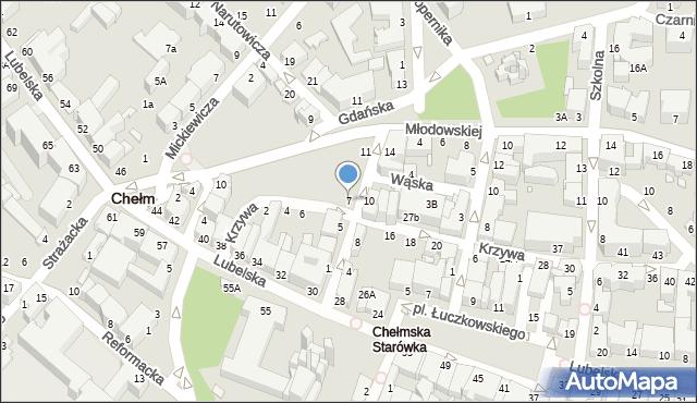 Chełm, Pijarska, 7, mapa Chełma