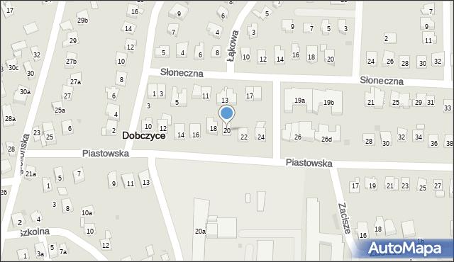 Dobczyce, Piastowska, 20, mapa Dobczyce