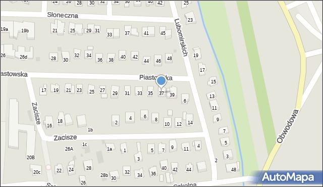 Dobczyce, Piastowska, 37, mapa Dobczyce