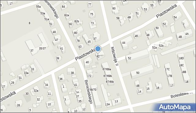 Gdańsk, Piastowska, 42, mapa Gdańska