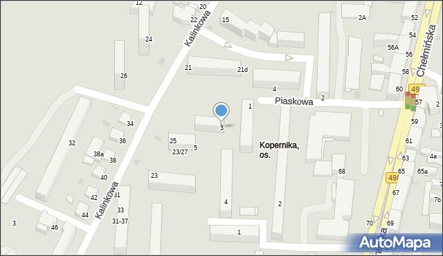 Grudziądz, Piaskowa, 3, mapa Grudziądza