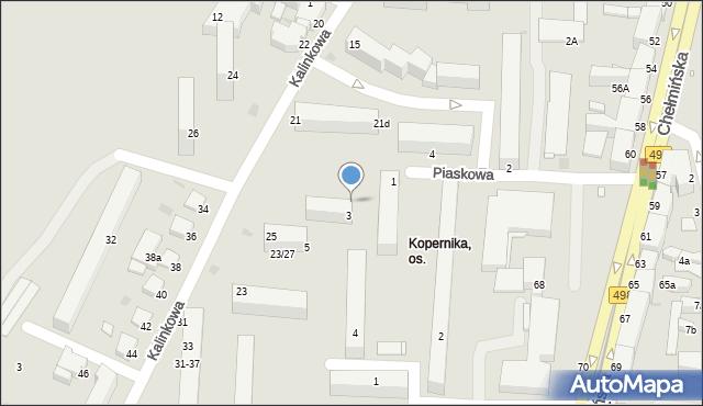 Grudziądz, Piaskowa, 3a, mapa Grudziądza