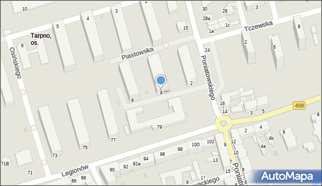 Grudziądz, Piastowska, 4, mapa Grudziądza