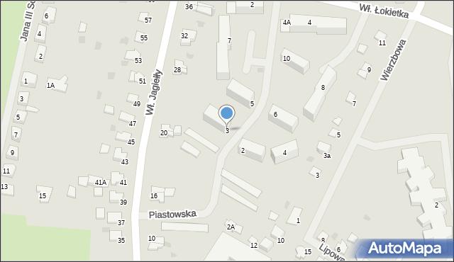 Kętrzyn, Piastowska, 3, mapa Kętrzyn