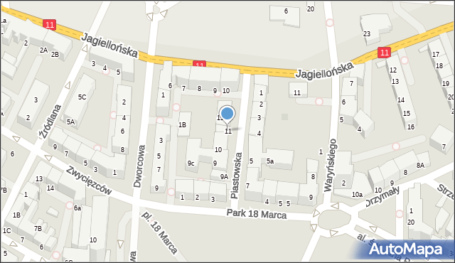 Kołobrzeg, Piastowska, 11, mapa Kołobrzegu