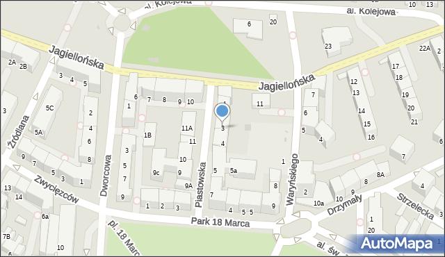 Kołobrzeg, Piastowska, 3, mapa Kołobrzegu