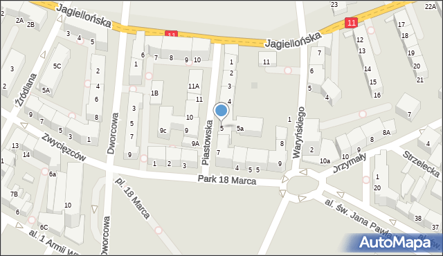 Kołobrzeg, Piastowska, 5, mapa Kołobrzegu