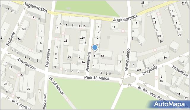 Kołobrzeg, Piastowska, 6, mapa Kołobrzegu