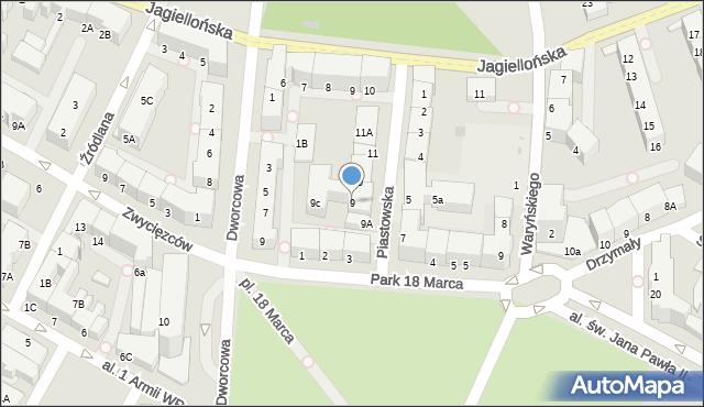 Kołobrzeg, Piastowska, 9, mapa Kołobrzegu