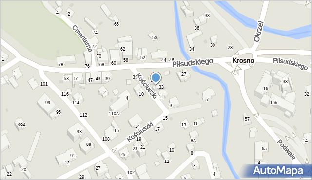 Krosno, Piłsudskiego Józefa, marsz., 31A, mapa Krosna