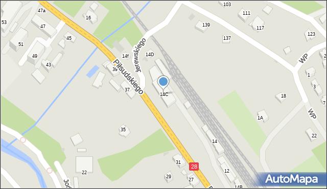 Limanowa, Piłsudskiego Józefa, marsz., 14C, mapa Limanowa
