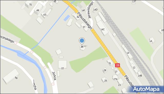 Limanowa, Piłsudskiego Józefa, marsz., 35, mapa Limanowa