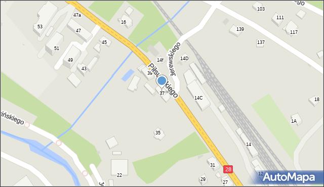 Limanowa, Piłsudskiego Józefa, marsz., 37, mapa Limanowa