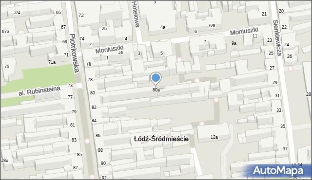 Łódź, Piotrkowska, 80a, mapa Łodzi