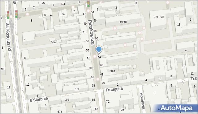 Łódź, Piotrkowska, 64, mapa Łodzi