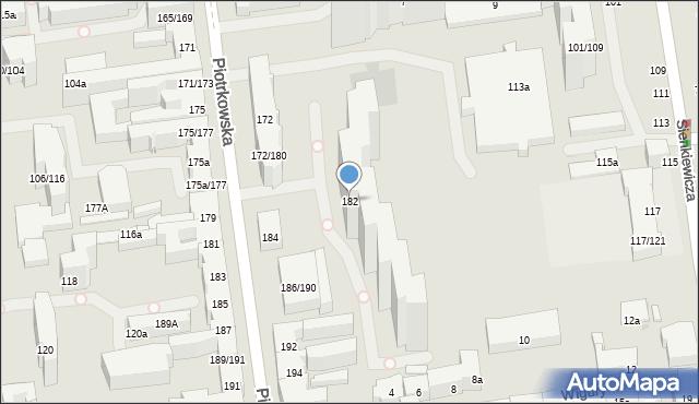 Łódź, Piotrkowska, 182, mapa Łodzi