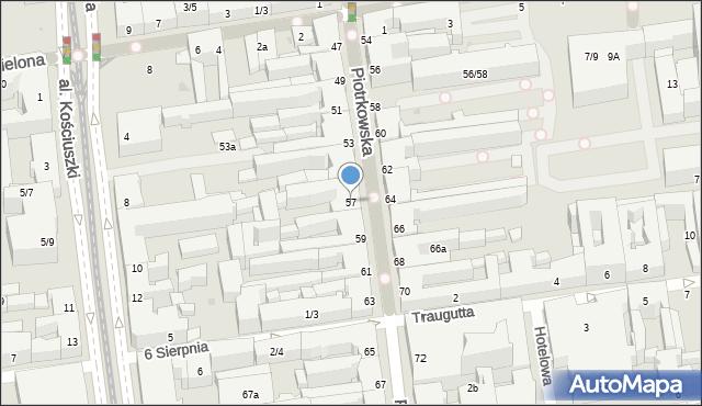 Łódź, Piotrkowska, 57, mapa Łodzi