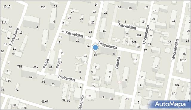Łódź, Piekarska, 13, mapa Łodzi