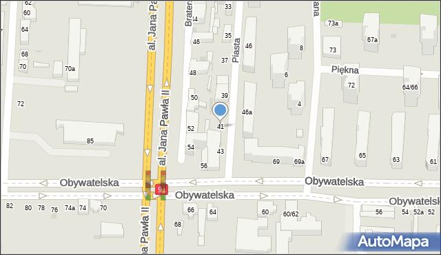 Łódź, Piasta, 41, mapa Łodzi