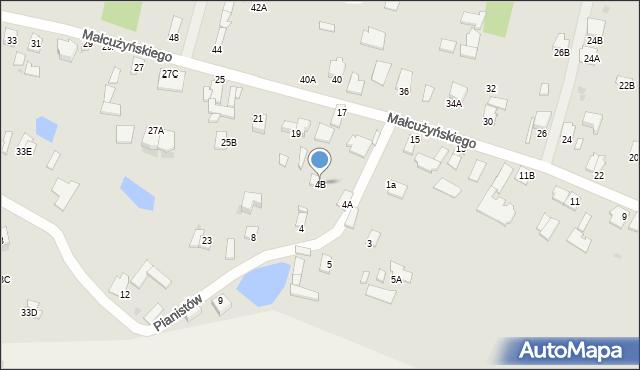 Radom, Pianistów, 4B, mapa Radomia