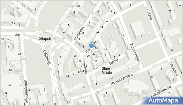 Słupsk, Piekiełko, 21-22, mapa Słupska