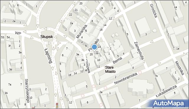 Słupsk, Piekiełko, 21, mapa Słupska