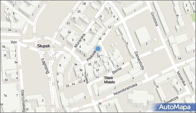 Słupsk, Piekiełko, 24, mapa Słupska