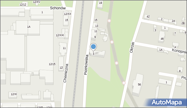 Sosnowiec, Piotrkowska, 1, mapa Sosnowca