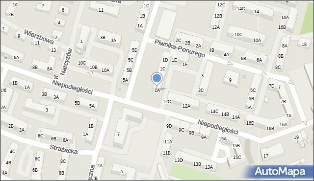 Sosnowiec, Piwnika-Ponurego Jana, mjr., 1A, mapa Sosnowca
