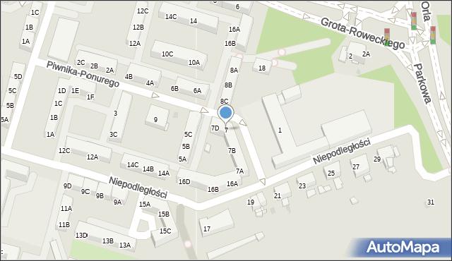 Sosnowiec, Piwnika-Ponurego Jana, mjr., 7, mapa Sosnowca