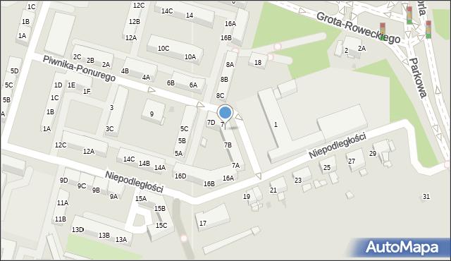 Sosnowiec, Piwnika-Ponurego Jana, mjr., 7C, mapa Sosnowca