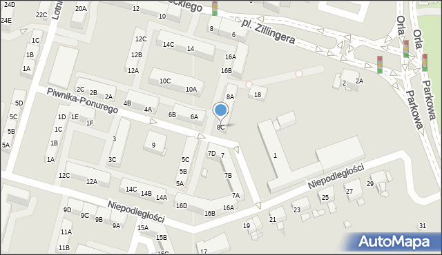 Sosnowiec, Piwnika-Ponurego Jana, mjr., 8C, mapa Sosnowca
