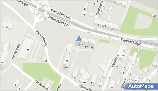 Sosnowiec, Piłsudskiego Józefa, marsz., 62, mapa Sosnowca