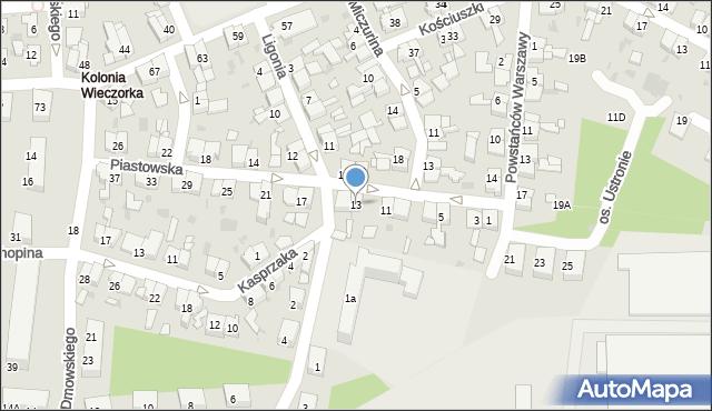 Świętochłowice, Piastowska, 13, mapa Świętochłowice