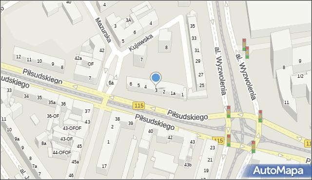 Szczecin, Piłsudskiego Józefa, marsz., 3, mapa Szczecina