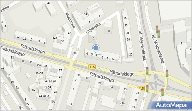 Szczecin, Piłsudskiego Józefa, marsz., 4, mapa Szczecina
