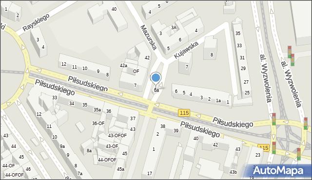 Szczecin, Piłsudskiego Józefa, marsz., 6a, mapa Szczecina