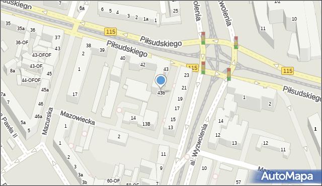 Szczecin, Piłsudskiego Józefa, marsz., 43b, mapa Szczecina
