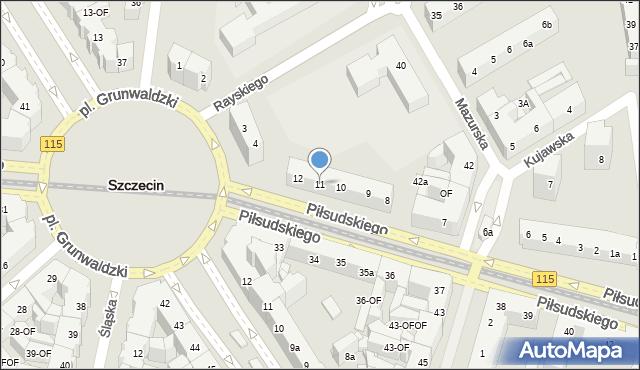 Szczecin, Piłsudskiego Józefa, marsz., 11, mapa Szczecina