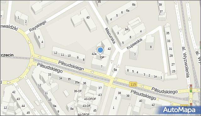 Szczecin, Piłsudskiego Józefa, marsz., 7-OF, mapa Szczecina