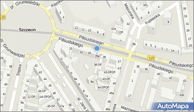 Szczecin, Piłsudskiego Józefa, marsz., 35a, mapa Szczecina