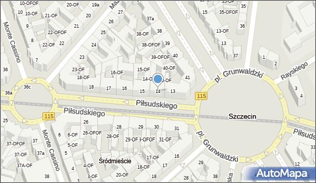 Szczecin, Piłsudskiego Józefa, marsz., 14, mapa Szczecina