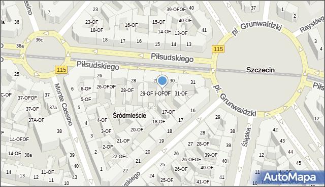 Szczecin, Piłsudskiego Józefa, marsz., 30-OF, mapa Szczecina
