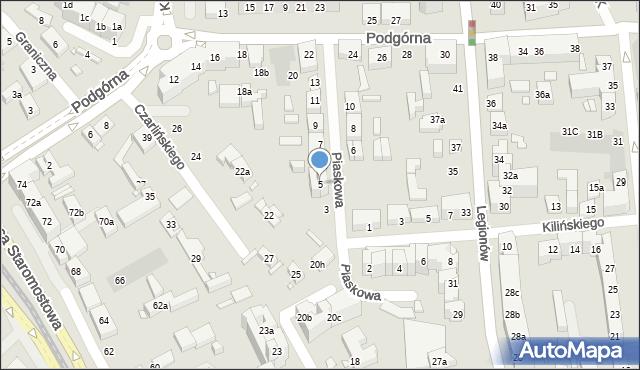 Toruń, Piaskowa, 5, mapa Torunia